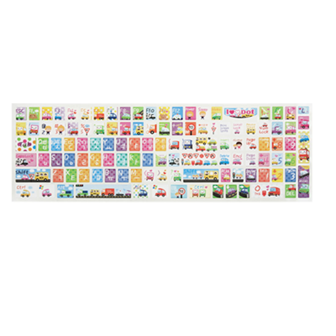 Cartoon Car Print Colorful Plastic Keyboard Sticker for PC