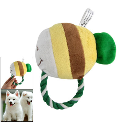 Green White Roped Color Block Tropical Fish Squeaky Toy for Pet Dog