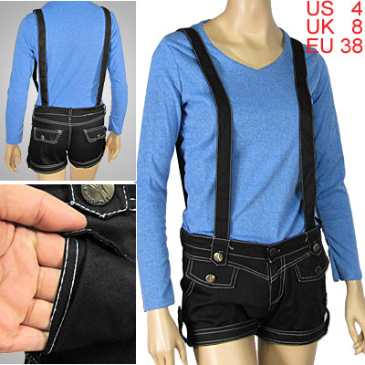 Slant Pocket Short Pants with Suspenders for Ladies