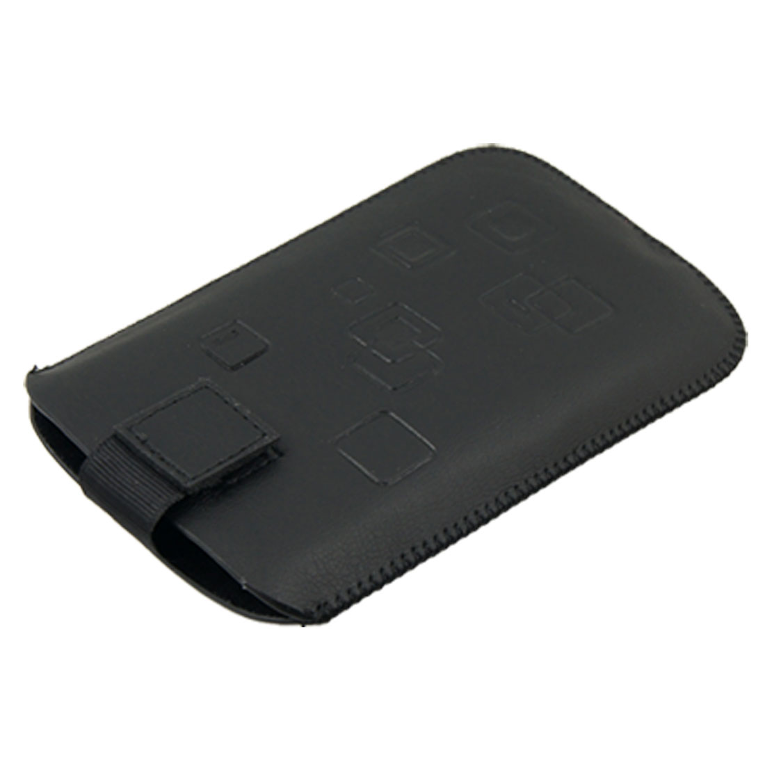 Black Detachable Fastener Faux Leather Vertical Pouch Case for HTC HD2