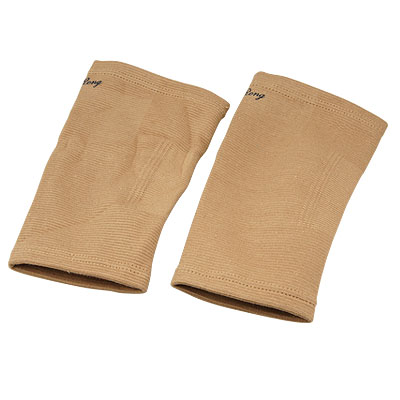 Pair of Khaki Stretch Knee Pullover Support Brace