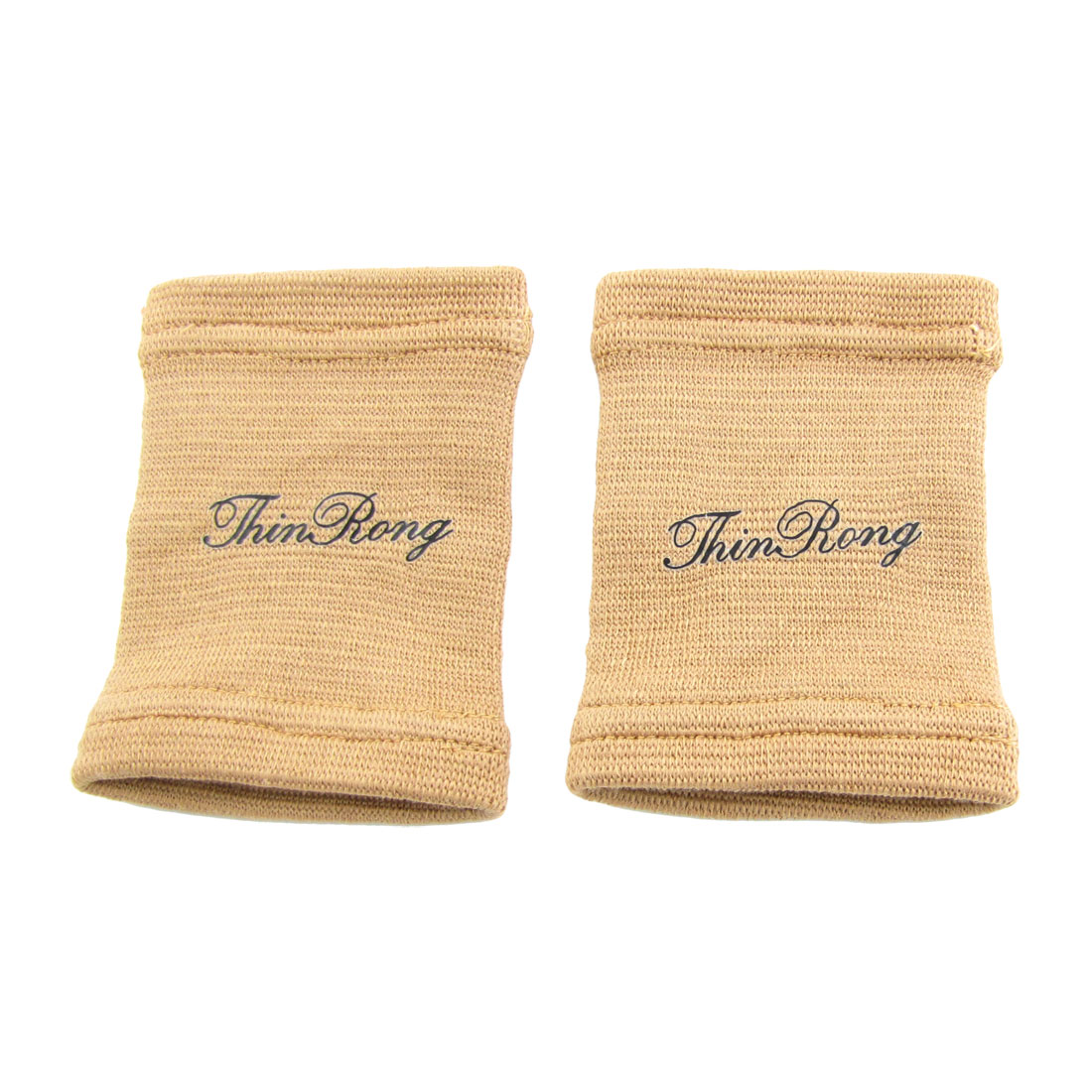 2 Pcs Khaki Elastic Knitted Fabric Bike Basketball Sports Wrist Support Brace