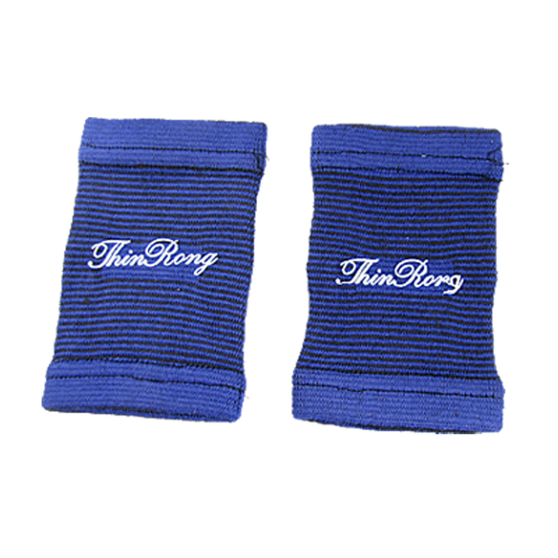 2 Pcs Black Blue Striped Elastic Fabric Wrist Sports Support