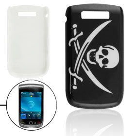 Skull Crossed Sword Pattern Black Plastic Back Case for Blackberry 9800