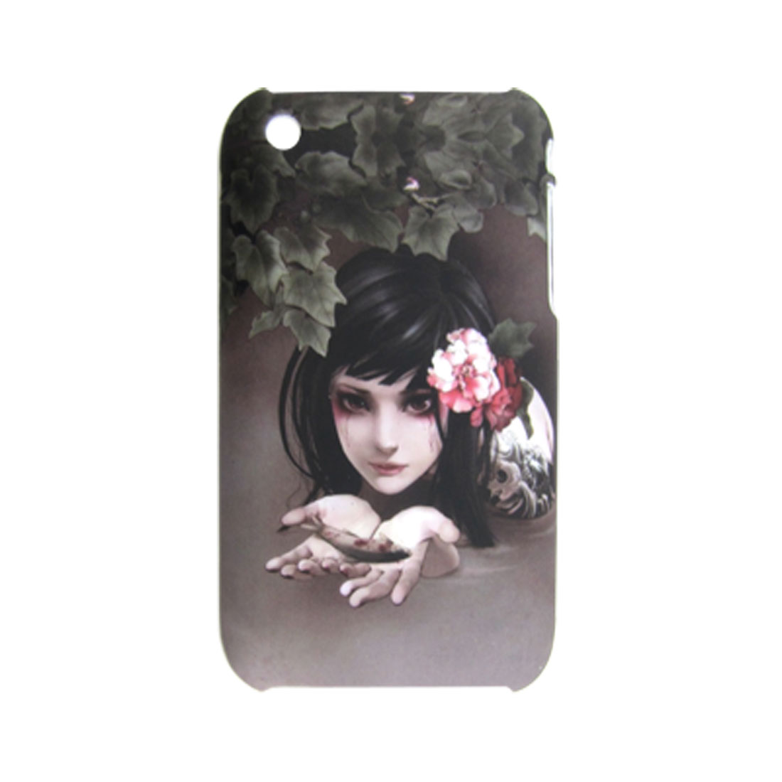 Beauty Girl Pattern Rubberized Plastic Back Case for iPhone 3G