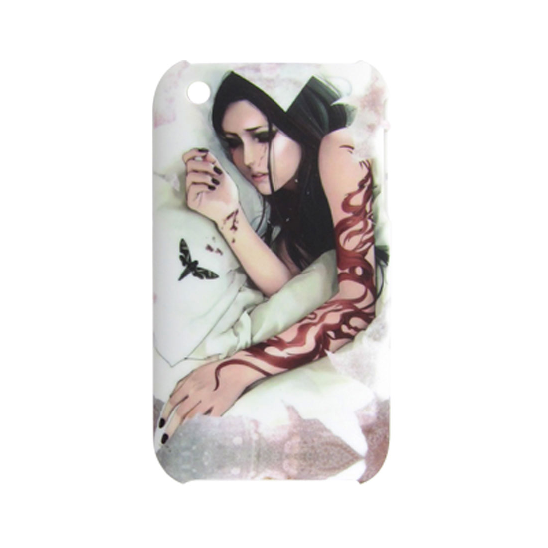 Beauty Print Back Case Shell White for Apple iPhone 3G