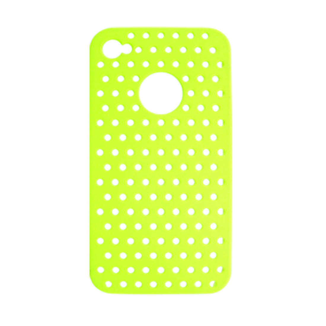 Green Yellow Rubberized Plastic Mesh Back Protector for iPhone 4 4G