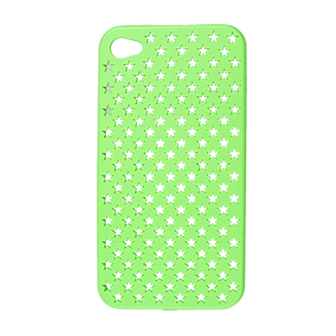 Rubberized Hard Plastic Green Mesh Hole Back Case for iPhone 4 4G