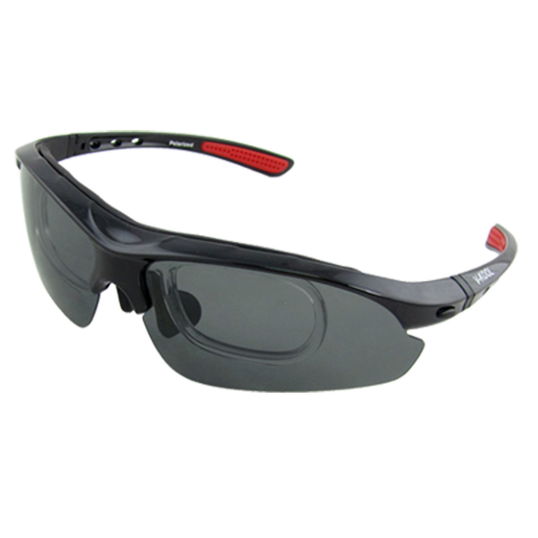 Unisex Plastic Frame Polarized Sports Sunglasses w Spare Lens