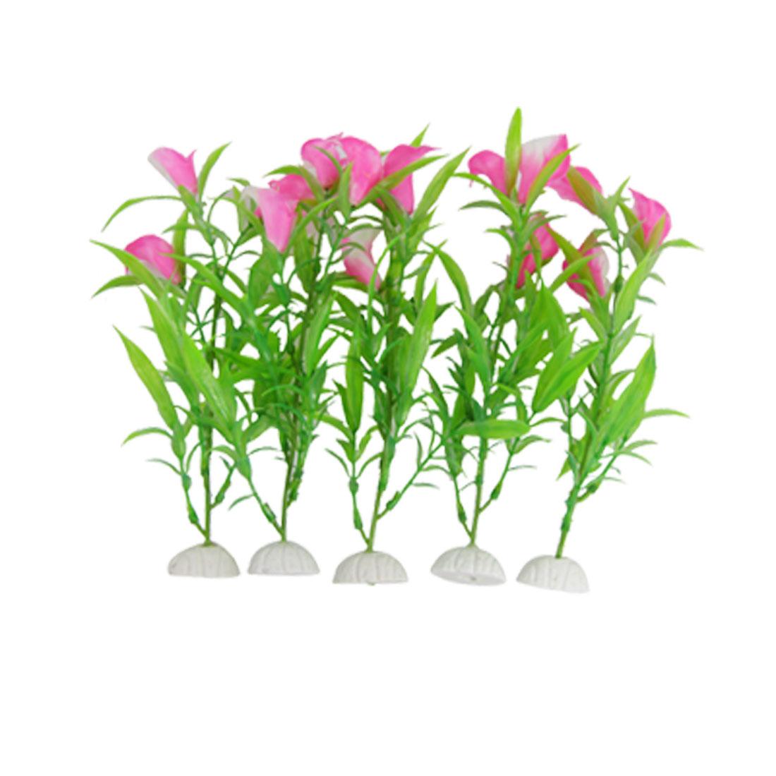 Rose Pink Plastic Calla Lily Decoration for Aquarium Fish Tank 5 Pcs