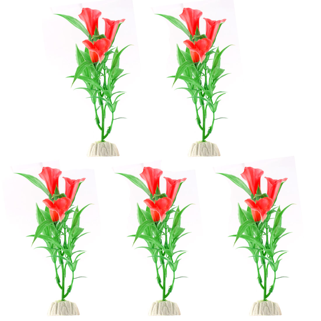 Red Flowers Green Leaves Plastic Calla Lily for Aquarium Decor 5 Pcs