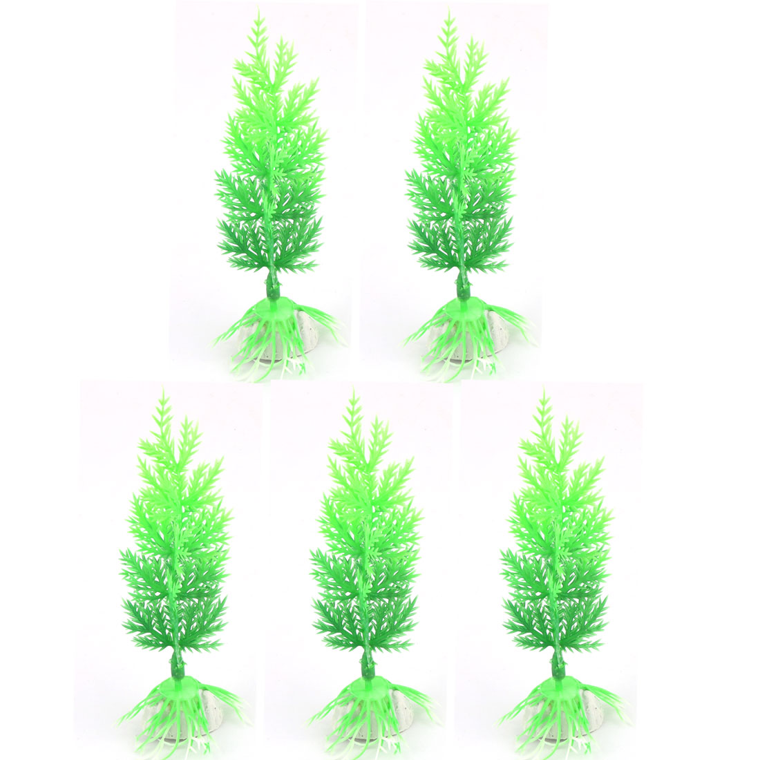 5 Pcs Artificial Green Plastic Tree for Aquarium Fish Tank Decor
