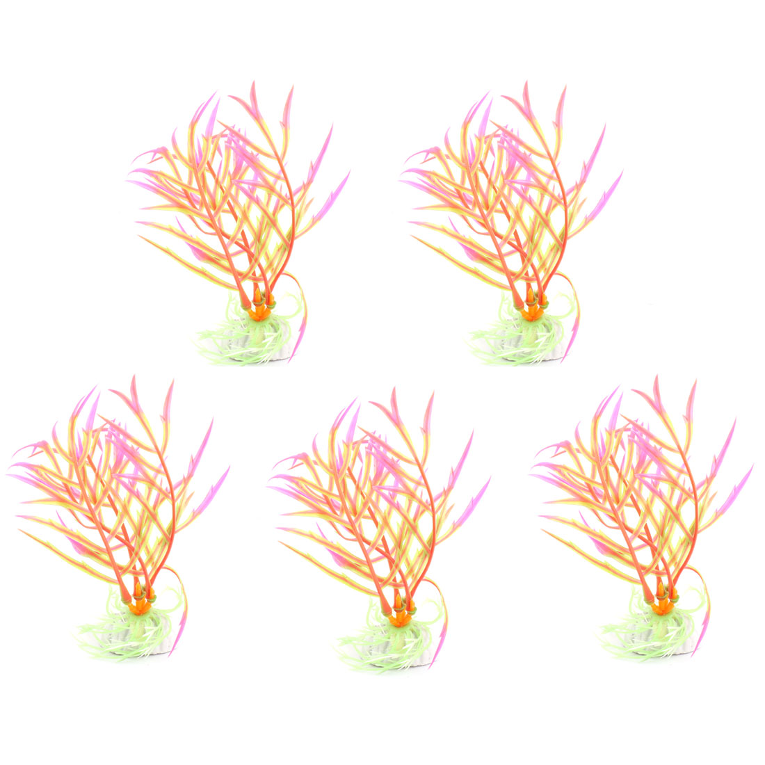 5 Pcs Shocking Pink Green Plastic Plants for Aquarium Fish Tank Ornament
