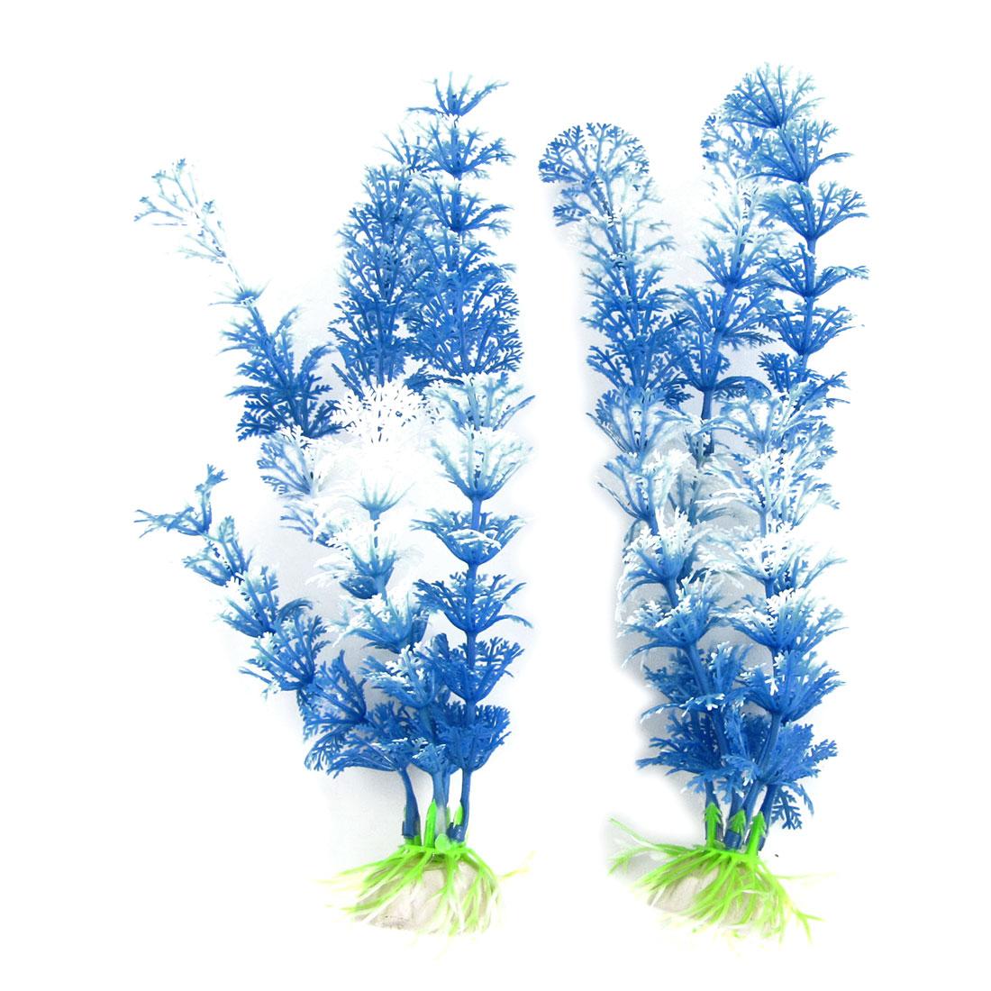 2 Pcs Blue White Plastic Grass Aquarium Ornament Water Plants