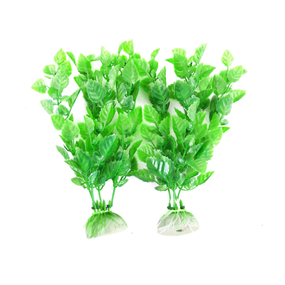 2 Pcs Green Plastic Artificial Water Plants for Aquarium Decor