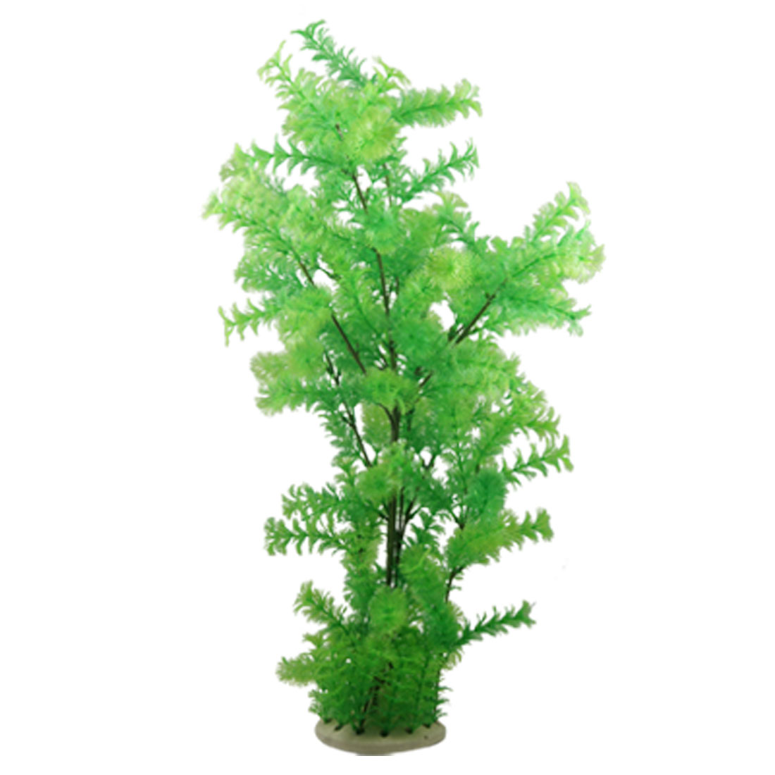 Round Base w Green Plastic Plants Ornament for Fish Tank