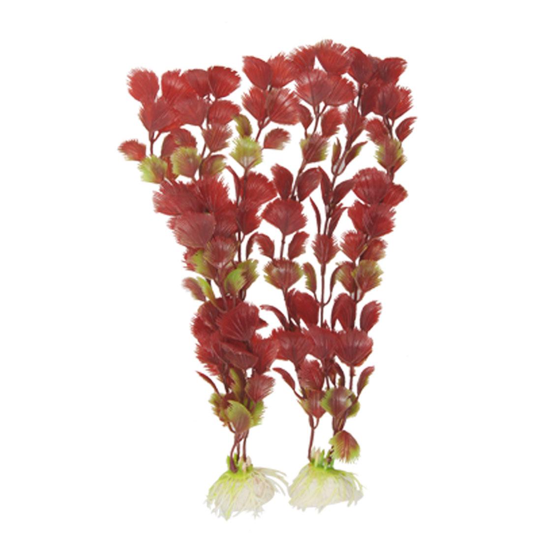 Fish Tank Burgundy Green Plastic Grass Ornament Decor 2PCS