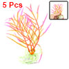 5 Pcs Shocking Pink Green Plastic Plants for Aquarium Fish Tank Ornament