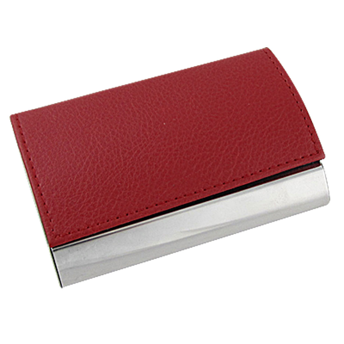 Red Silver Tone Metal Faux Leather Business Card Holder