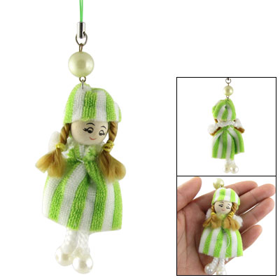 Green White Knitting Dress Girl Charm Pendant for Cell Phone