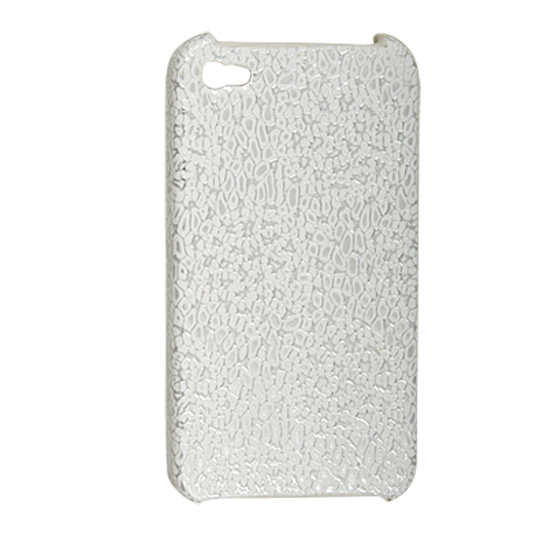 White Silver Tone Textured Back Case for iPhone 4 4G
