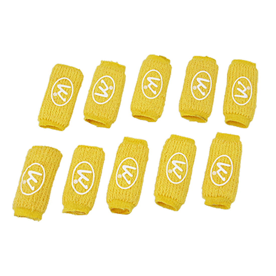 Basketball Badminton Elastic Finger Sleeve Yellow 10 Pcs
