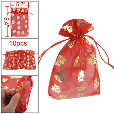 Gold Tone Fu Lucky Chinese Characters Pattern Red Organza Sweets Gift Bag