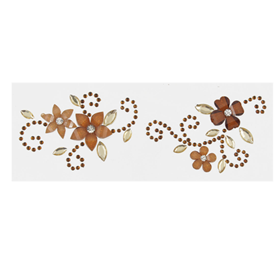 Mobile Cell Phone Rhinestone Dual Flower Sticker Brown