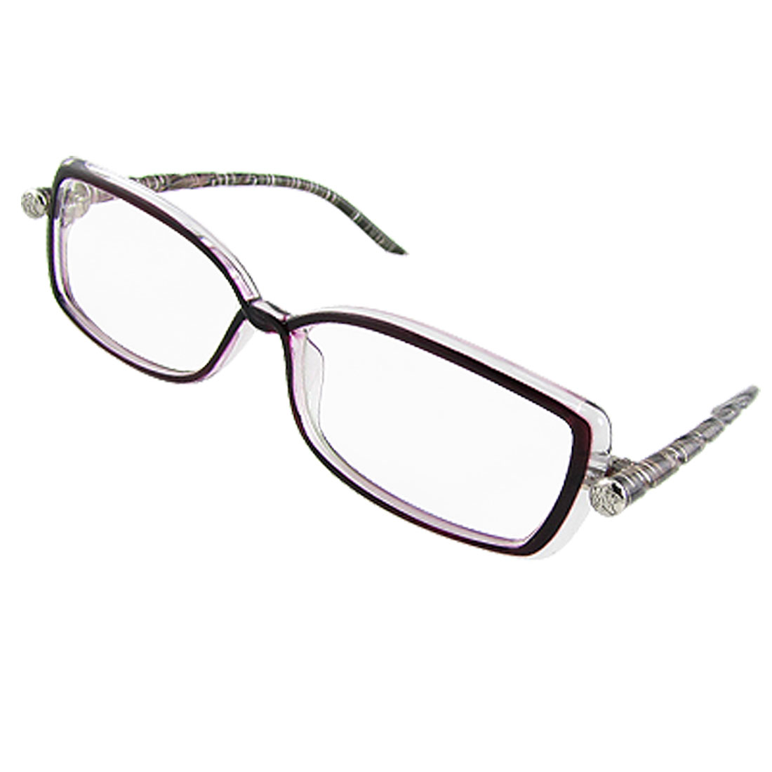 Lady Textured Round Plastic Arms Clear Lens Eyewear Glasses