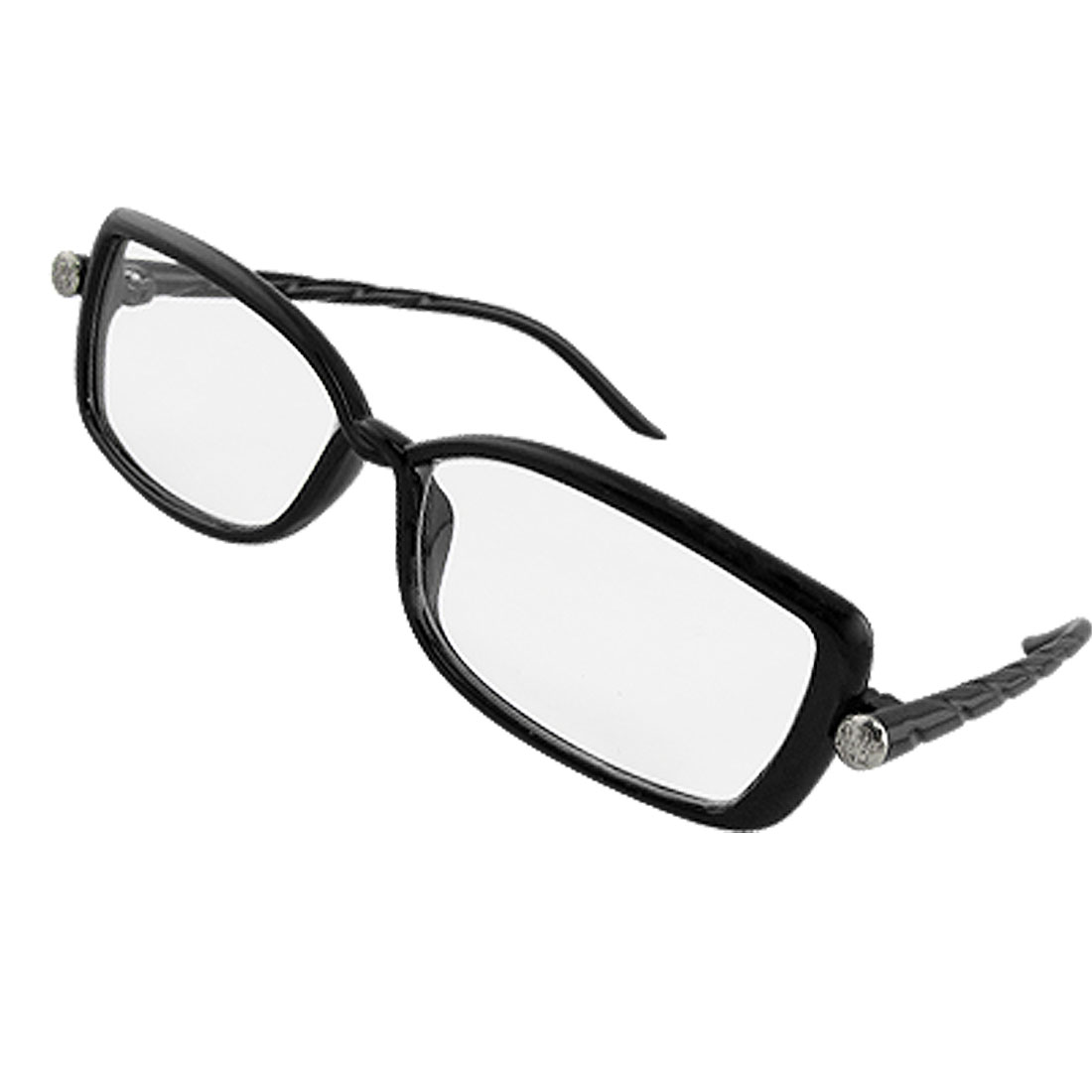 Lady Black Plastic Texture Arms Plain Glasses Eyewear