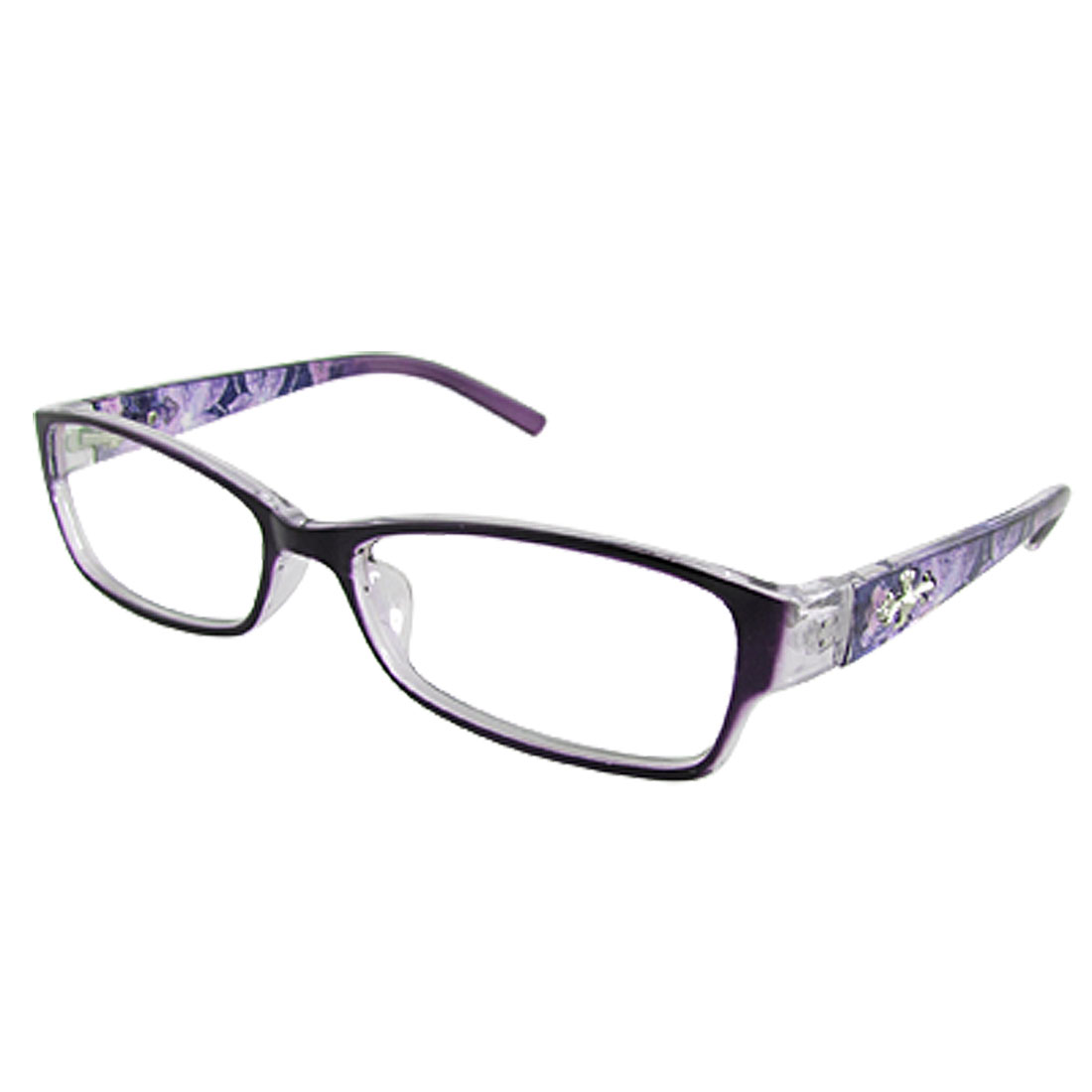 Lady Purple Floral Plastic Arm Clear Lens Plano Glasses