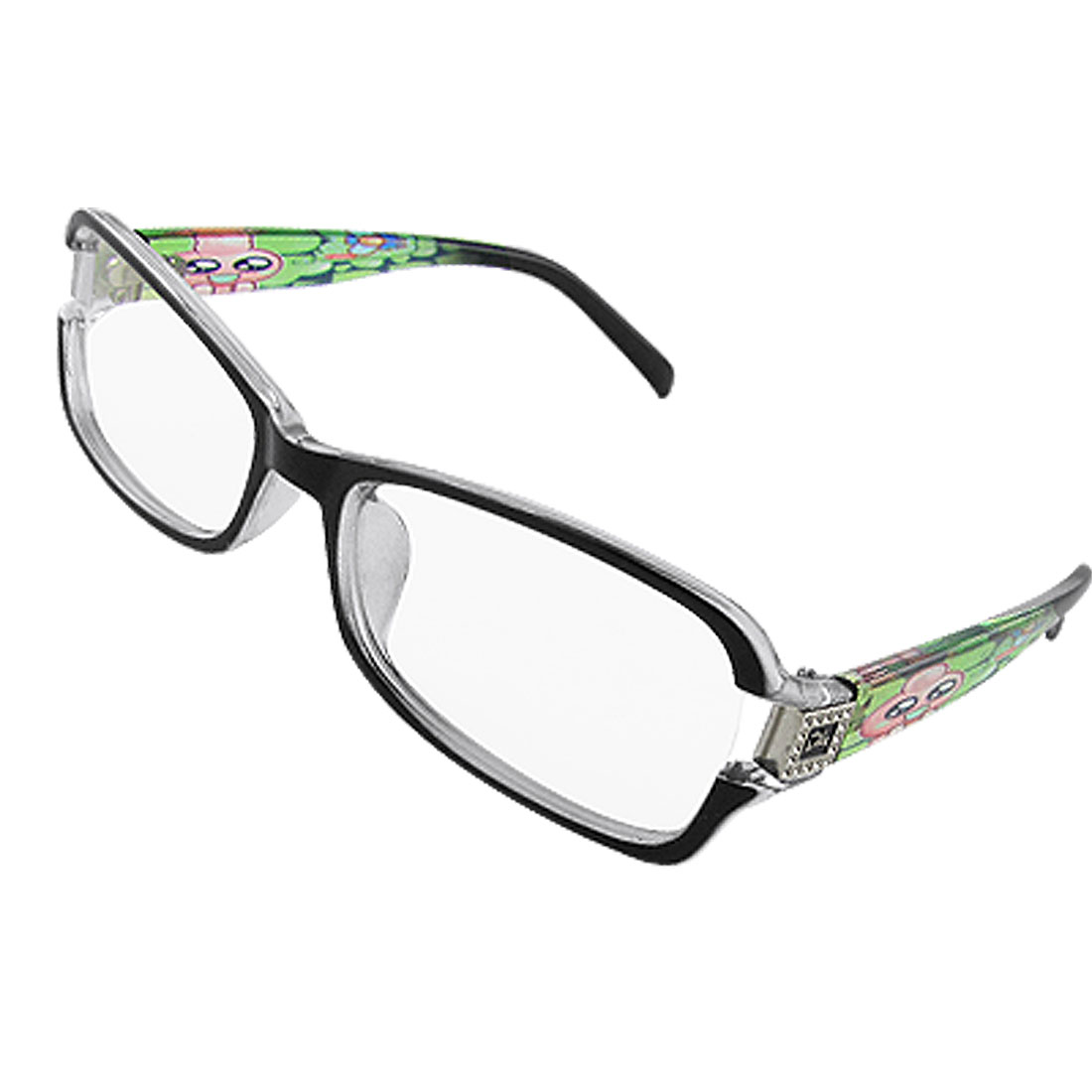 Black Full Rim Cartoon Role Printed Arms Clear Lens Glasses