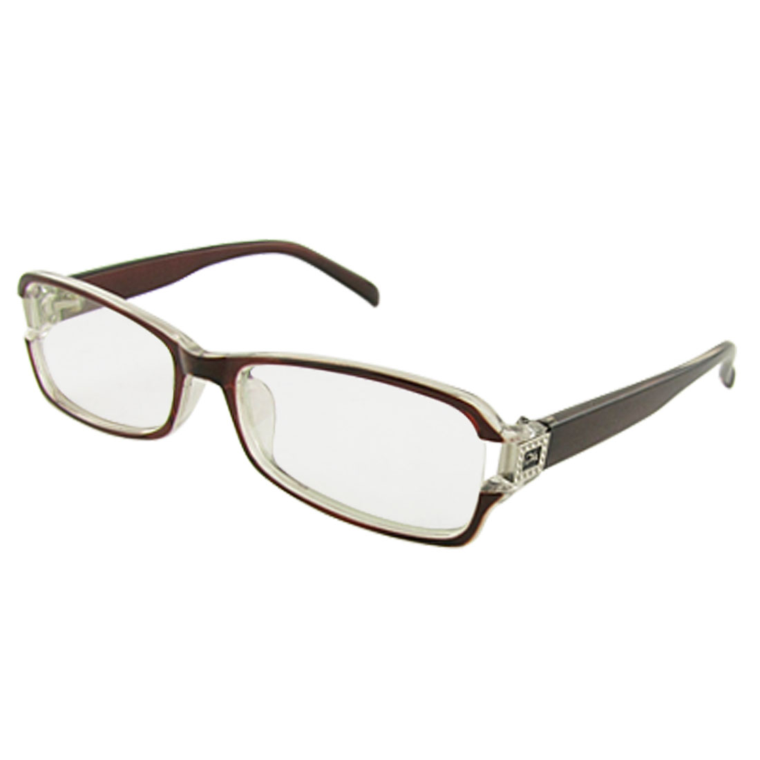 Brown Full Frame Rectangle Lens Single Bridge Plano Glasses