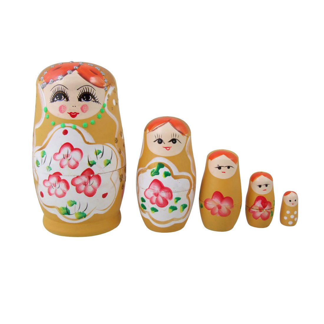 5 Pcs Flower Yellow Girl Print Wooden Nesting Babushka Doll