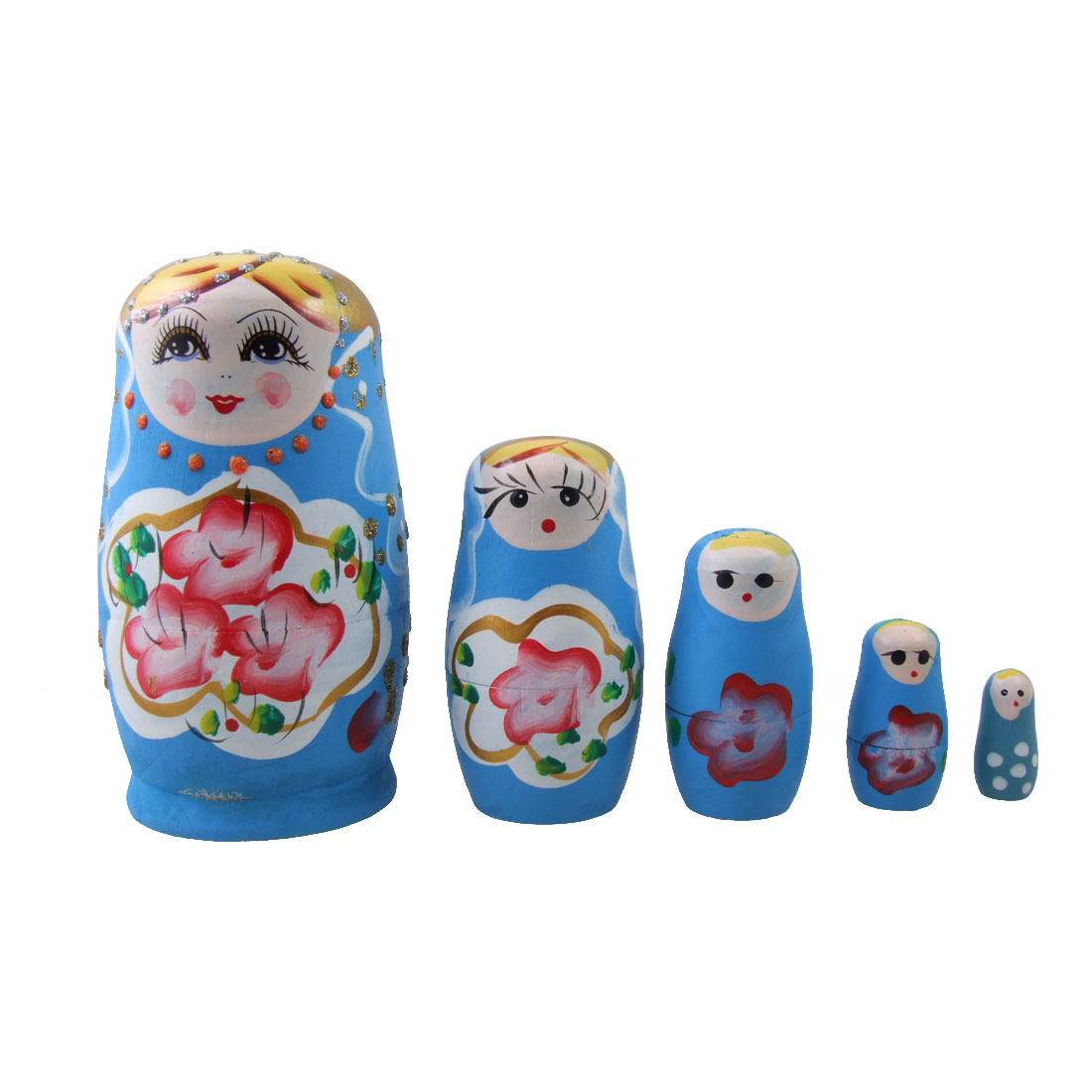 5 Pcs Wooden Blue Painting Nesting Russian Dolls
