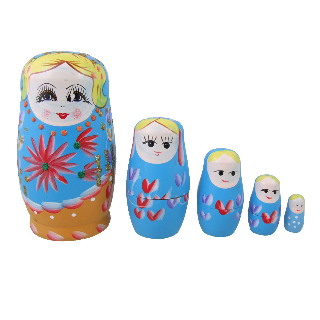 Glittery Plant Flower Blue Yellow Nesting Russian Dolls 5 Pcs