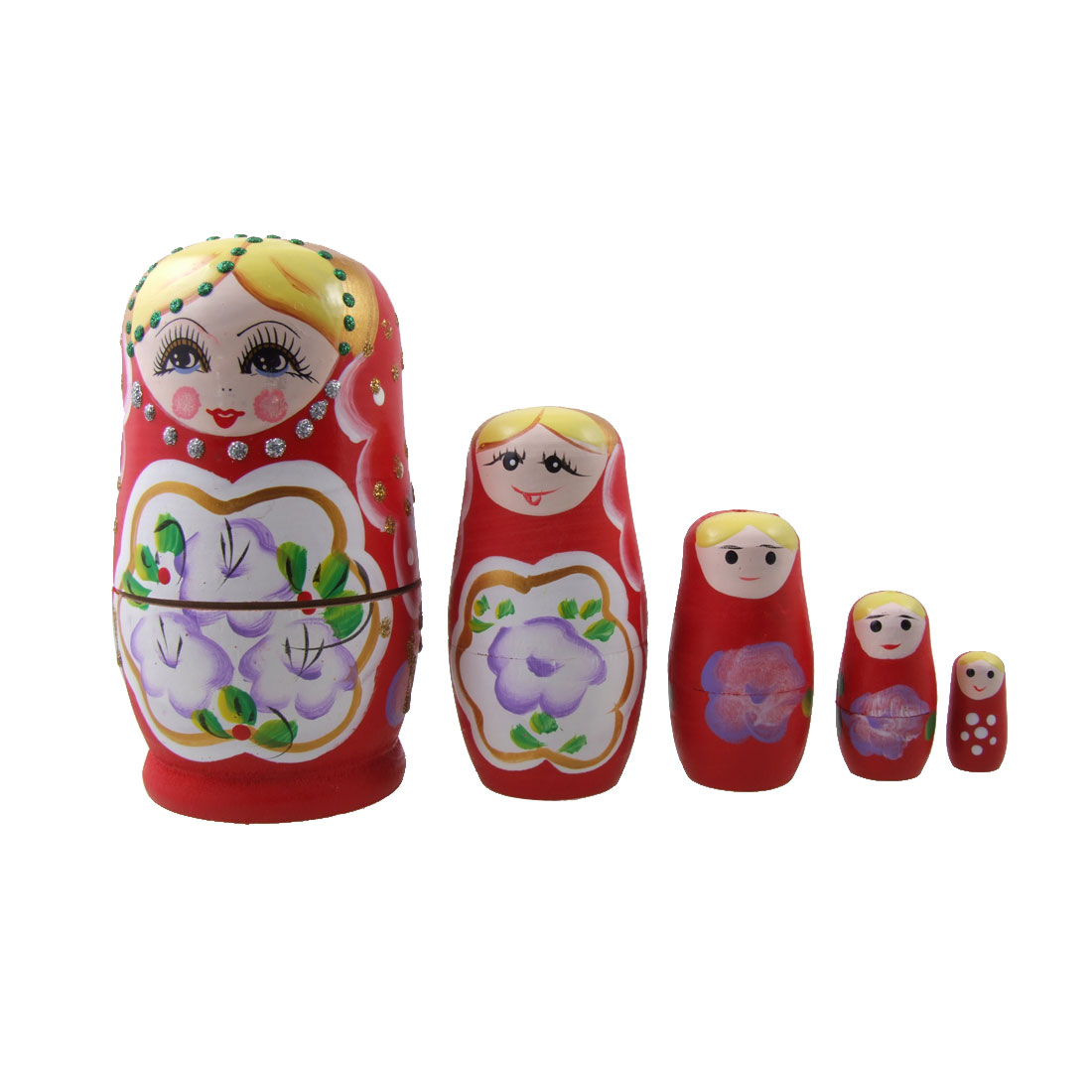 5 in 1 Wooden Russian Dolls Smile Girl Red Doll Set Toy