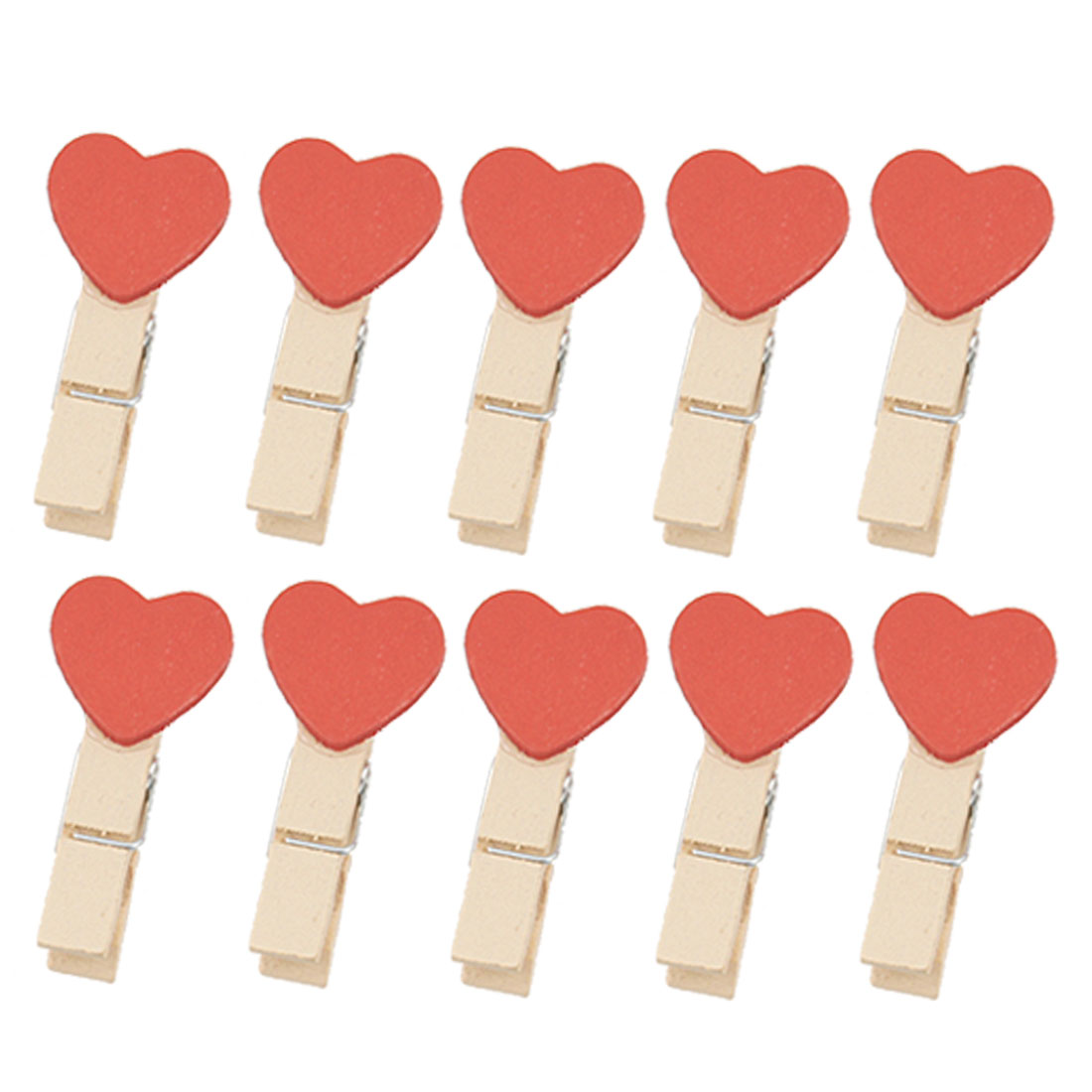 10 Pcs Red Heart Wooden Spring Clothespins Memo Clips w String