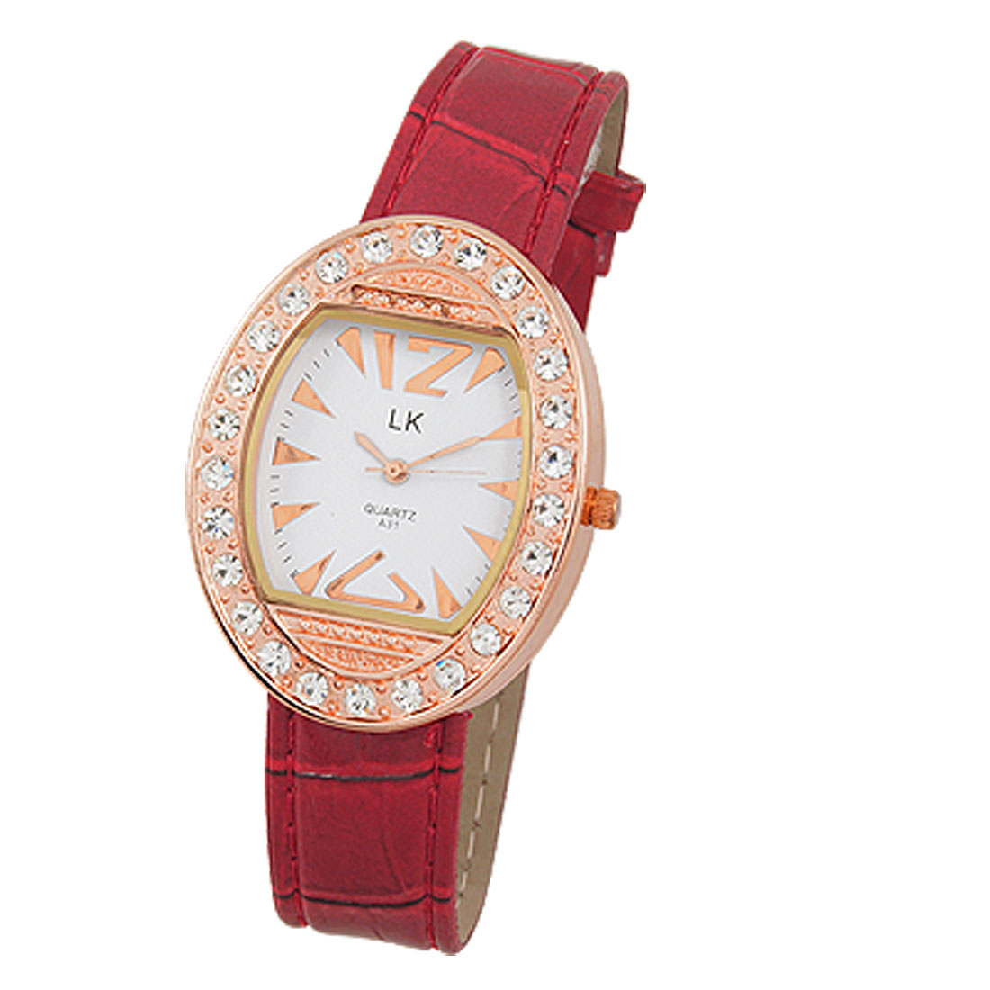 Ladies Red Croco Print Faux Leather Band Rhinestone Studded Oval Case Wrist Watch