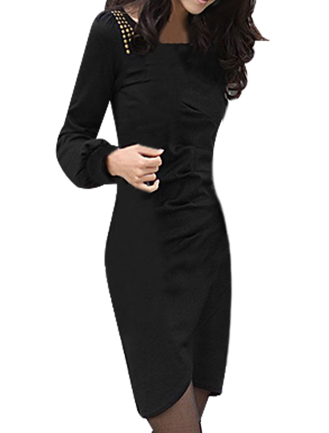 Autumn Studded Shoulder Round Neck Long Sleeve Dress Black XS