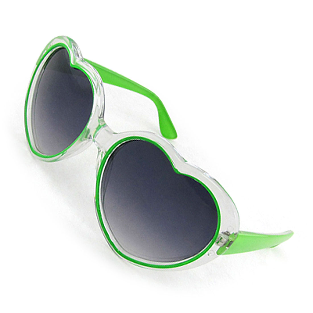 Ladies Green Clear Frame Heart Shaped Lens Sunglasses