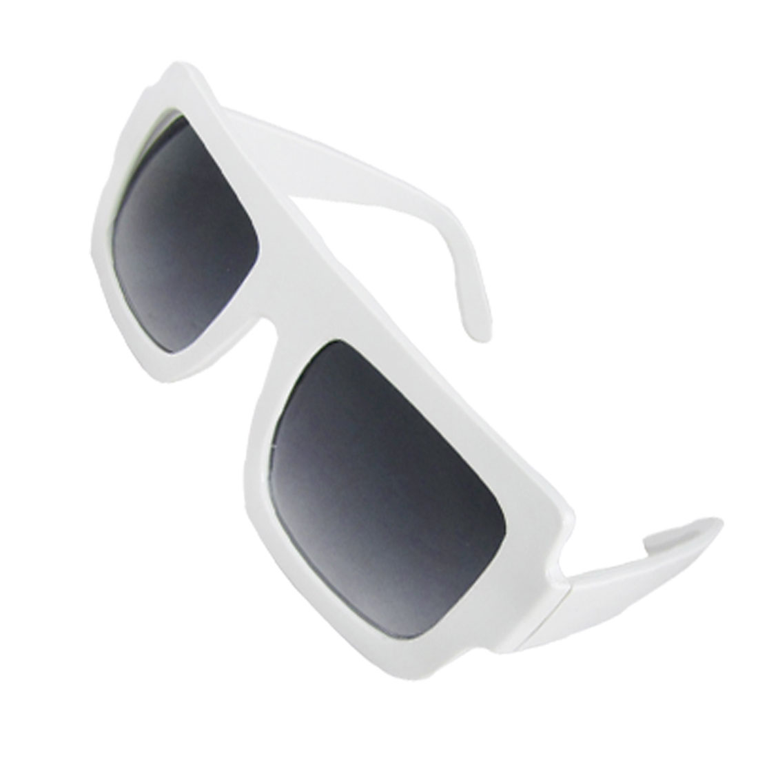 White Plastic Smooth Full Rimmed Rectangular Lens Ladies Sunglasses