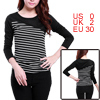 Allegra K Lady Long Sleeve Bar Striped Spring Shirt Top New Black XS