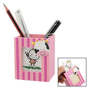Cow Head Pink Wooden Photo Frame Pen Pencil Holder
