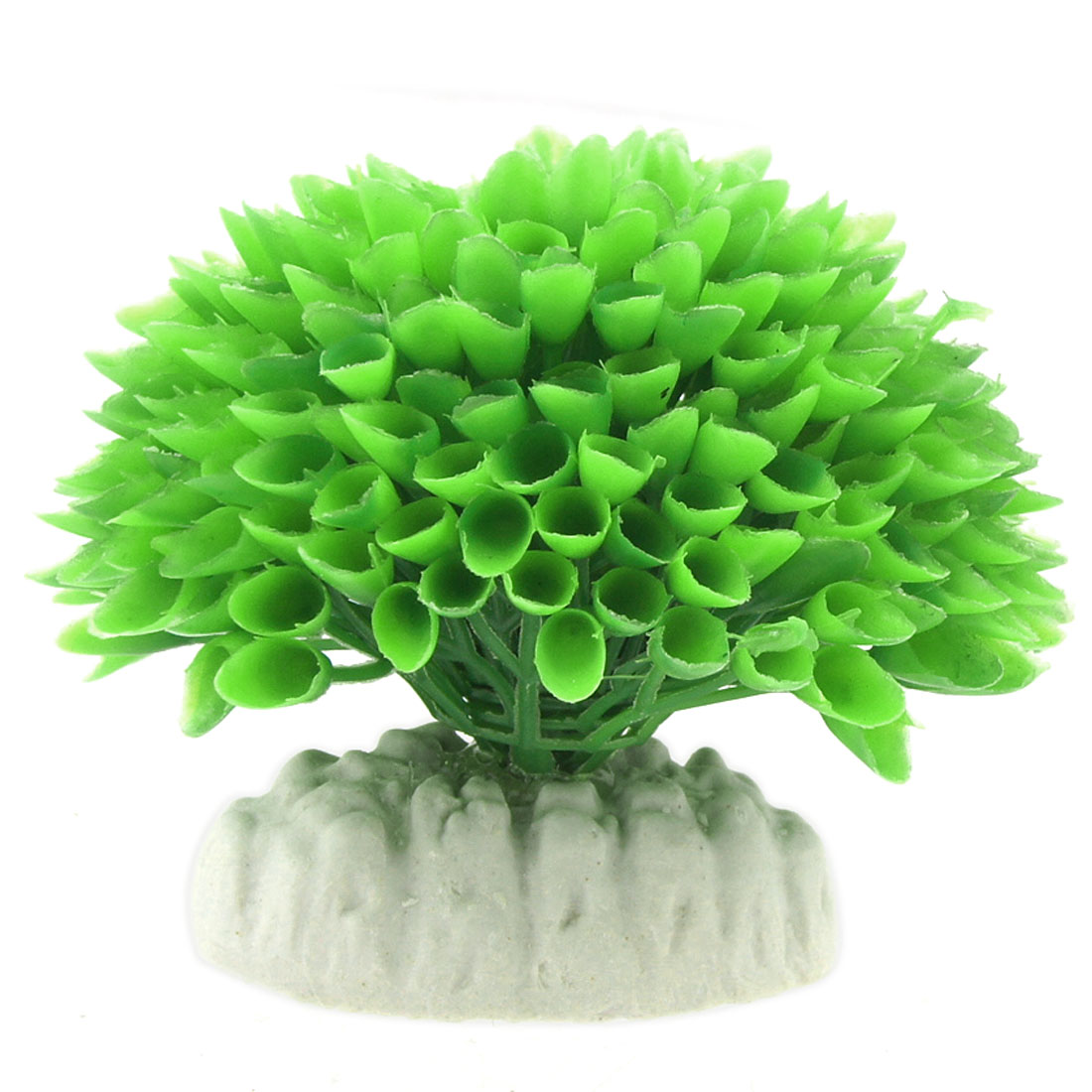Aquarium Ornament Ceramic Base Plastic Ball Plant Green