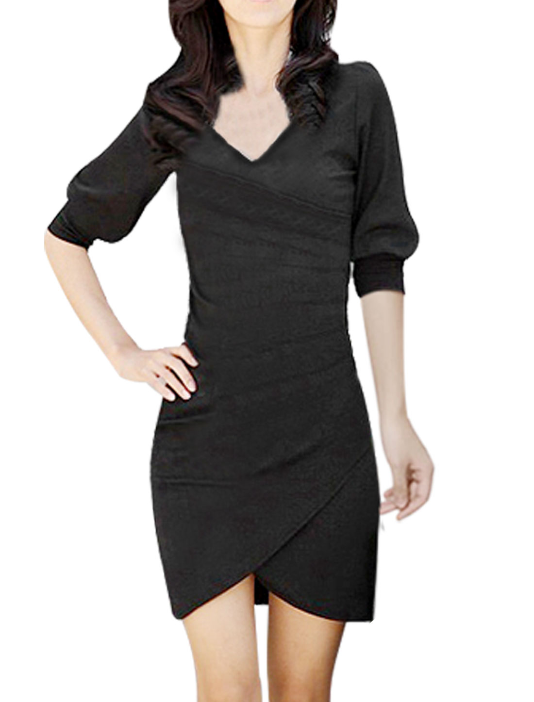 Ladies Cross Front V Neck Pleated Cuff Half Sleeve Dress Black XS