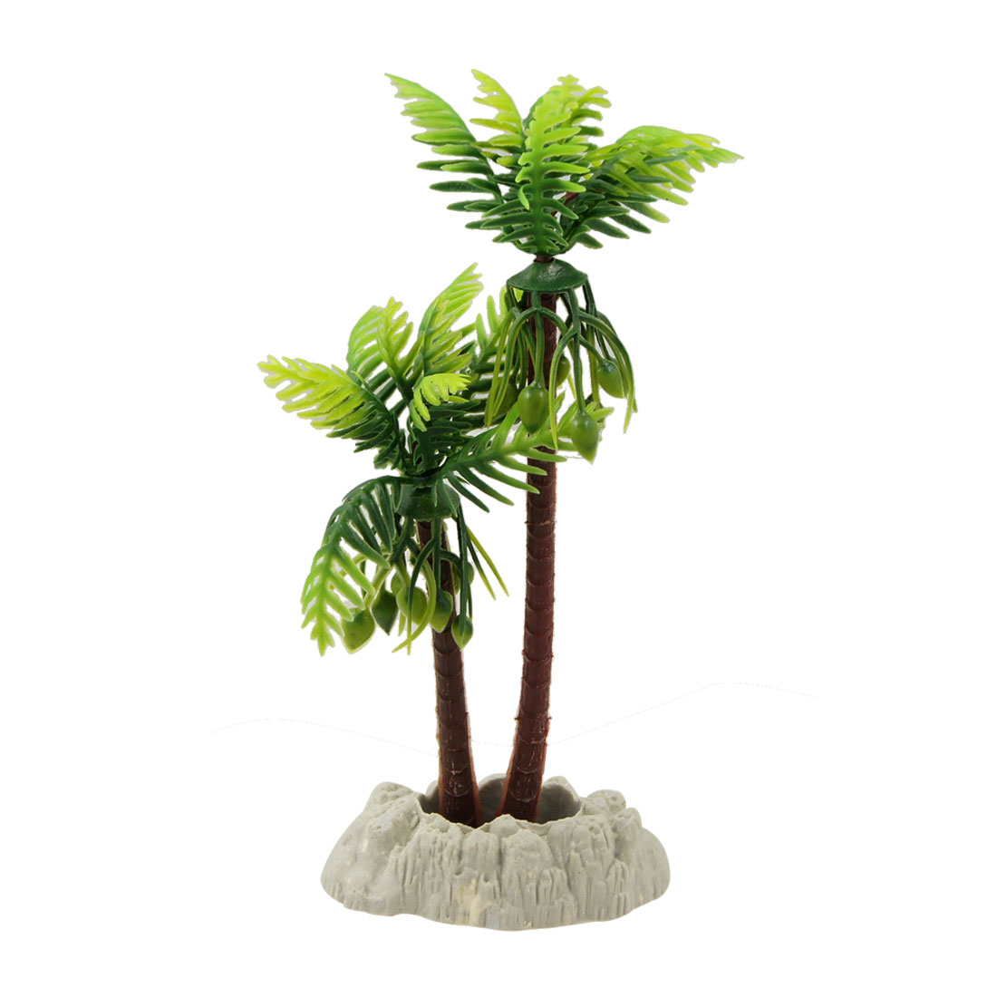 Aquarium Ornament Plastic Coconut Palm Plant Green