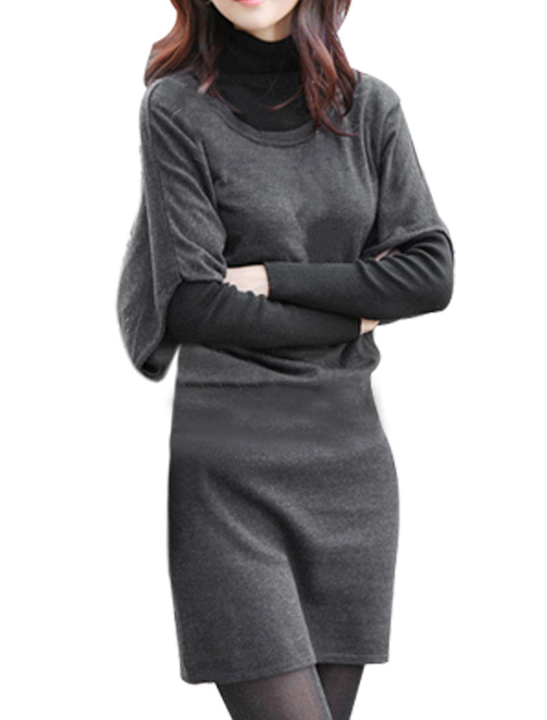 Ladies Dark Gray Bat-wing Sleeve Dress w Black Belt XS