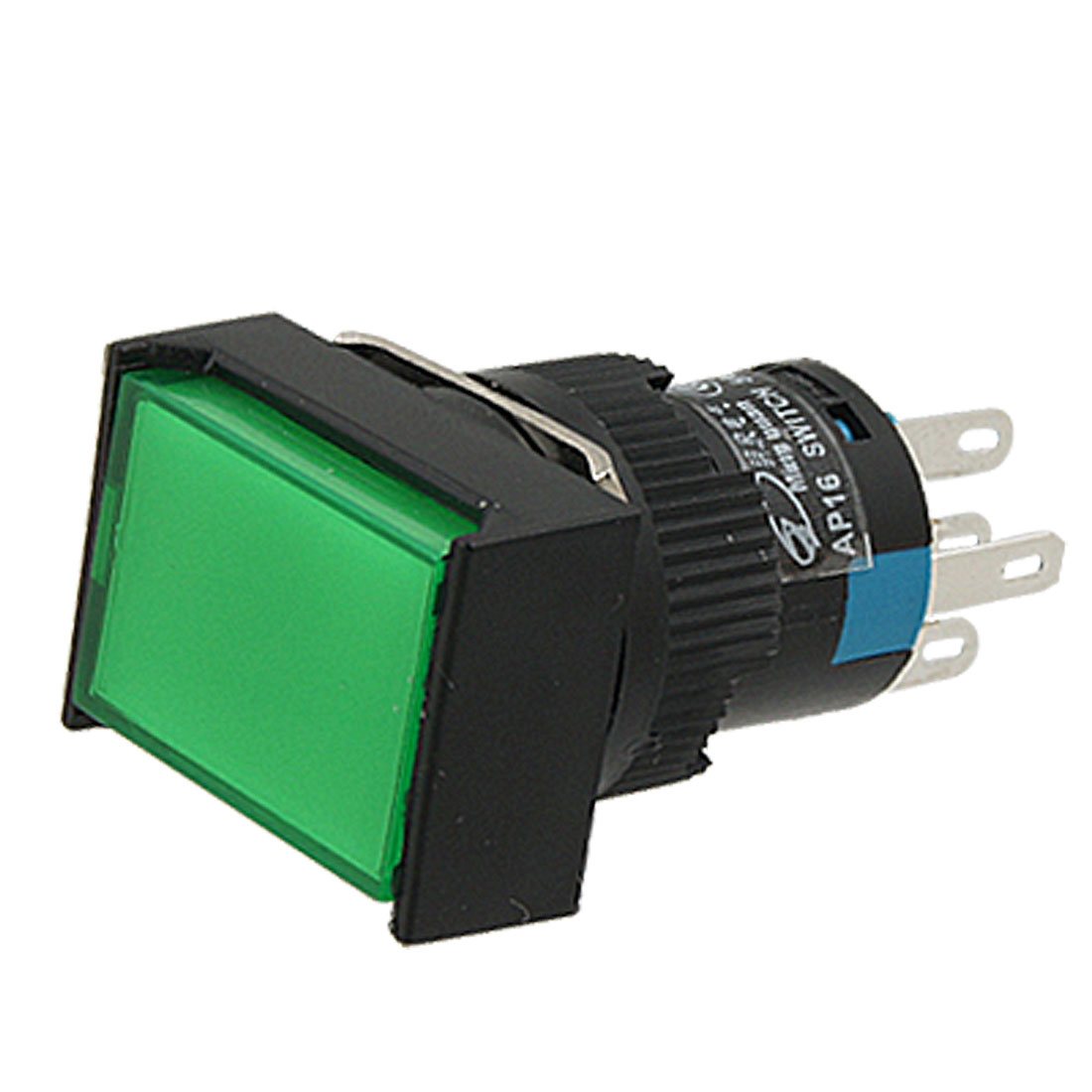 Self-locking Type Green Cap Push Button Switch w Lamp