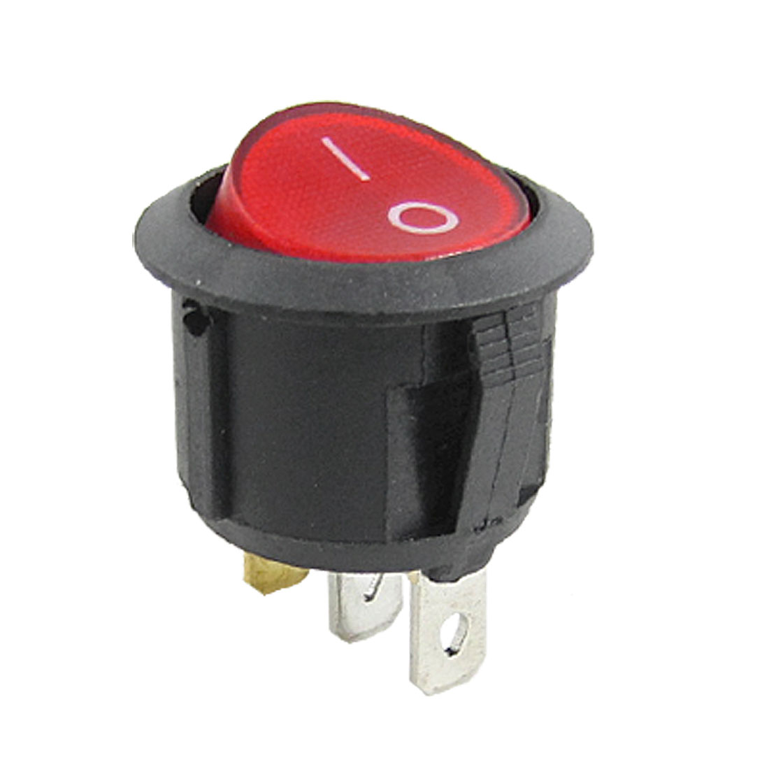 AC 250V 10A Red Light Illuminated 3 Pin ON-OFF SPST Snap in Round Rocker Switch